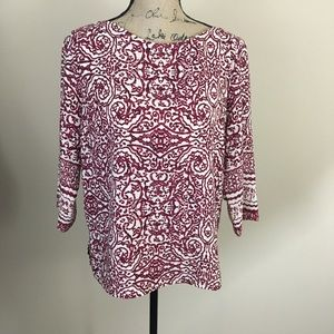 Skies Are Blue Blouse Size Medium Burgundy